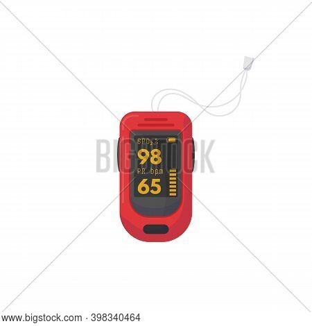 Red Pulse Oximeter With Digits On Screen. Spo2 And Pr Bpm Data. Digital Healthcare Device For Satura