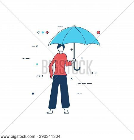 Person With Blue Umbrella. Women Standing And Holding Umbrella Protecting From Bad Weather And Rain.