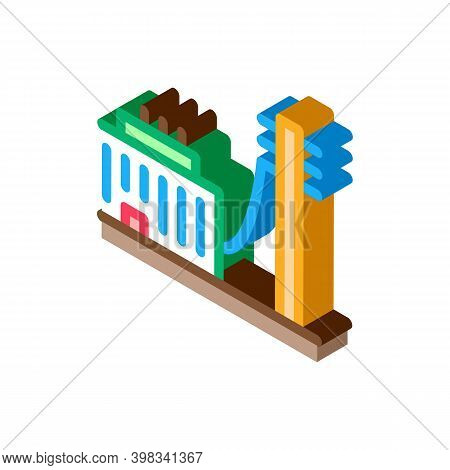 Building Connected Electricity Post Icon Vector. Isometric Building Connected Electricity Post Sign.