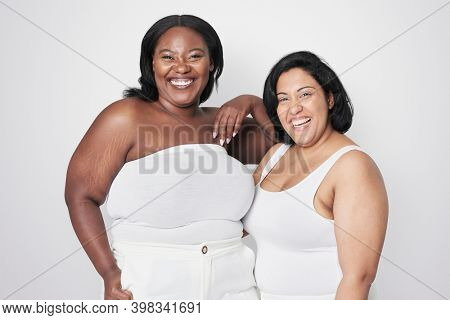 Attractive plus size model blank background