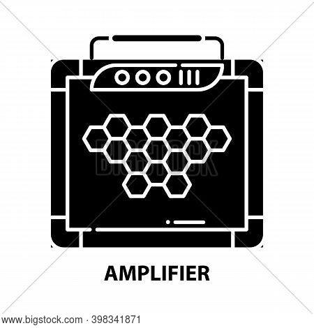 Amplifier Icon, Black Vector Sign With Editable Strokes, Concept Illustration