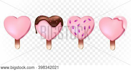 Heart-shaped Vector Popsicle Romantic Collection With Pink Ice-creams On Wooden Stick, Chocolate Gla