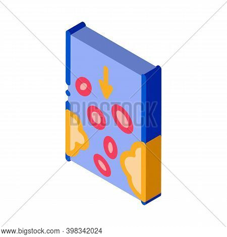Atherosclerosis Vessel Problem Color Icon Vector. Isometric Atherosclerosis Vessel Problem Sign. Col