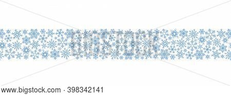 Snowflakes. Seamless horizontal border. Repeating vector pattern. Isolated colorless background. Endless holiday ornament. Delicate crystal background. Idea for web design, packaging, cover, printing. Frostwork. Frozen star. Christmas, new year.
