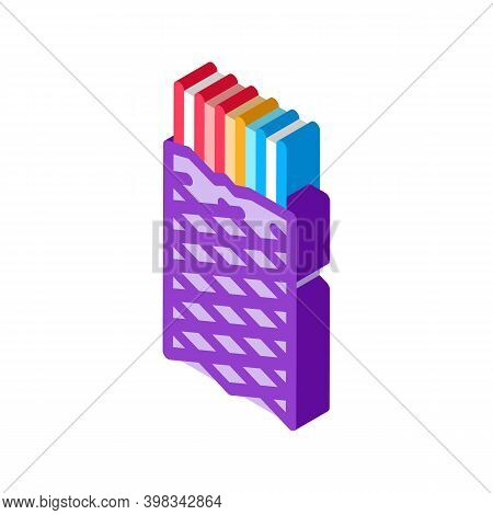 Metallic Insulation Shield Cable Color Icon Vector. Isometric Metallic Insulation Shield Cable Sign.