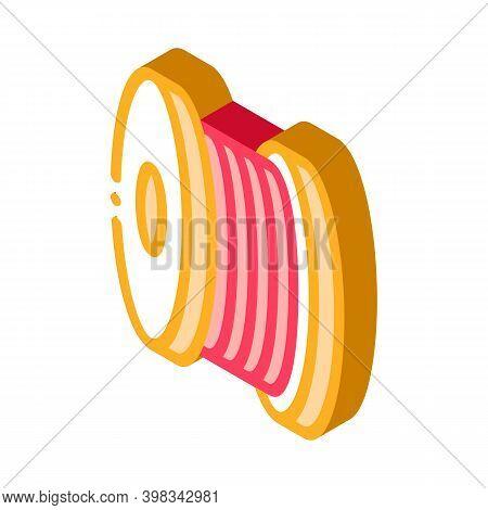 Bobbin Fiber Color Icon Vector. Isometric Bobbin Fiber Sign. Color Isolated Symbol Illustration