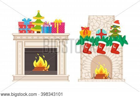 Fireplace Decoration For Christmas Atmosphere Vector. Isolated Icons Of Decor Socks With Reindeer Pr