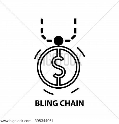 Bling Chain Icon, Black Vector Sign With Editable Strokes, Concept Illustration
