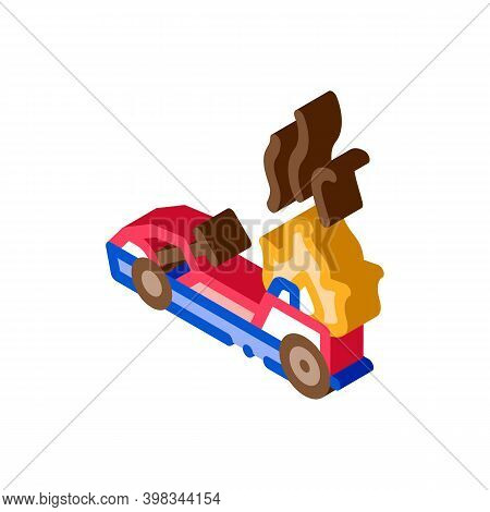 Burning Kart, Fire Accident Color Icon Vector. Isometric Burning Kart, Fire Accident Sign. Color Iso