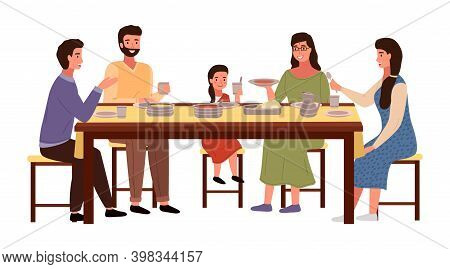 Dining Room In Indian Style Vector Illustration. Dining Table With Pita And Tomato Soup. Arrangement