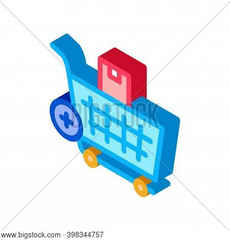 Buying Products And Adding In Market Cart Color Icon Vector. Isometric Buying Products And Adding In