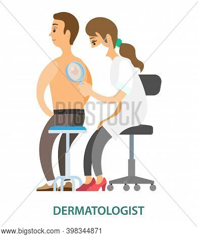 Dermatologist Examining Mole With Magnifying Glass In Clinic. Patient With Therapist Isolated On Whi