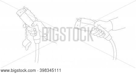 Linear Illustration Of Hand Holds Charging For Electric Car. Two Position Of Hand, Line Charger With