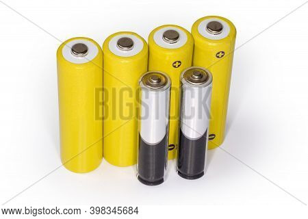 Rechargeable Batteries Aa Size And Alkaline Batteries Aaa Size, Standing With The Positive Terminals