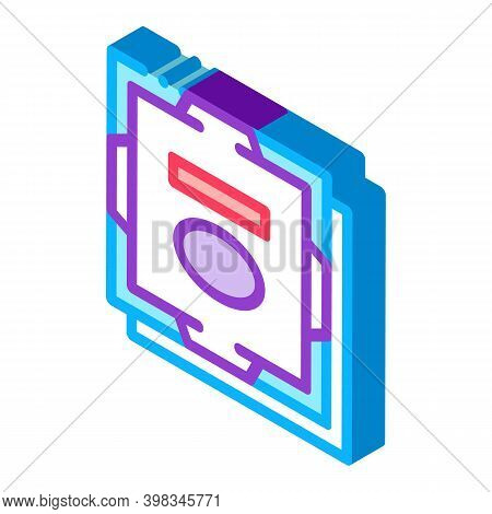 Processor Computer Component Color Icon Vector. Isometric Processor Computer Component Sign. Color I
