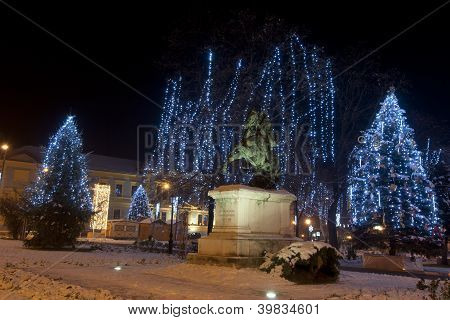 outdoor christmas lights in a little town