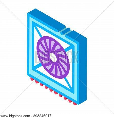 System Fan Computer Component Color Icon Vector. Isometric System Fan Computer Component Sign. Color
