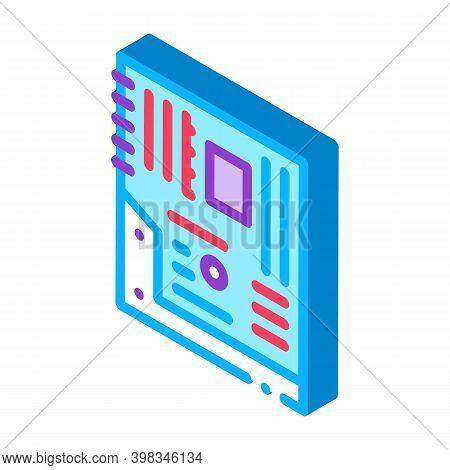 Mainboard Motheboard Computer Part Color Icon Vector. Isometric Mainboard Motheboard Computer Part S