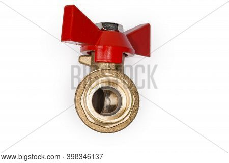 Ball Valve With Brass Body And Red Butterfly Handle On A White Background, View Of The Pivoting Ball