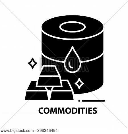 Commodities Icon, Black Vector Sign With Editable Strokes, Concept Illustration