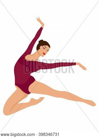 Elegant Ballerina In Dark Magenta Long Sleeve Leotard In A Jump, Hand Drawing Vector, Isolated On Th
