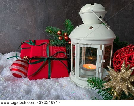 Christmas And New Year Background. Gift Boxes, Christmas Decorations And White Lantern. Snowy Greeti