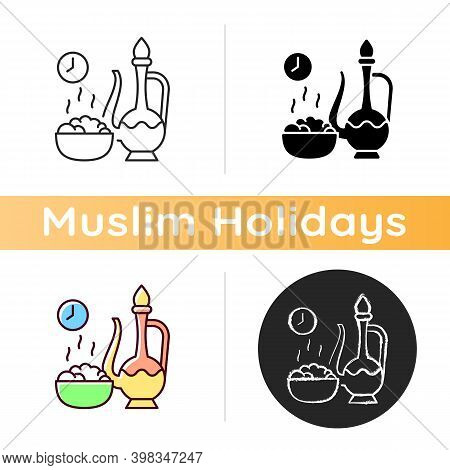 Iftar Icon. Evening Meal With Which Muslims End Their Daily Ramadan Fast At Sunset. Religious Observ
