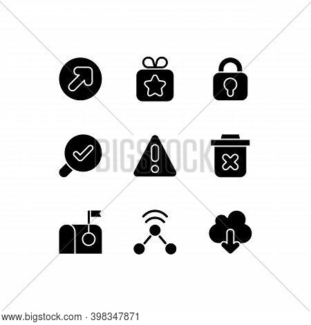 Interface For Better Usability Black Glyph Icons Set On White Space. Blocking Delete Functionality O