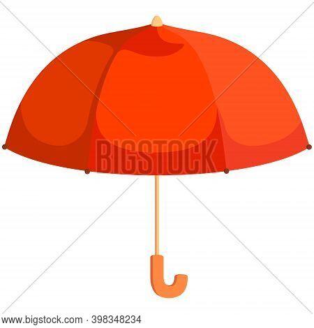 Orange Unfolded Umbrella. Beautiful Accessory In Cartoon Style.