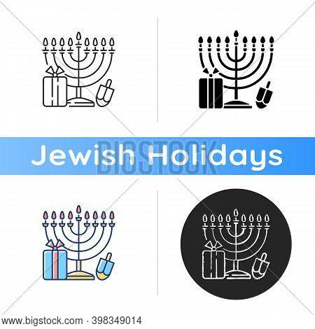 Nine-branched Menorah Icon. Judaism Symbol. Hanukkah. Candelabrum With 9 Stands. Candle-lighting Tim