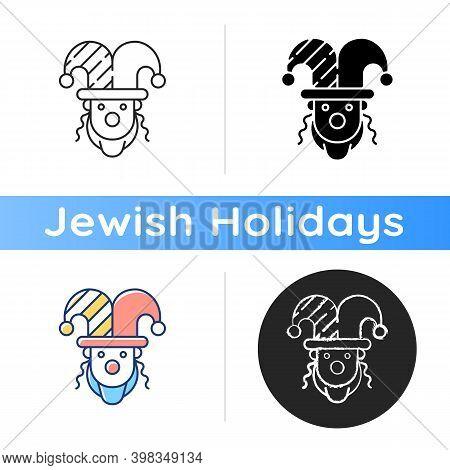 Purim Celebration Icon. Jewish Festival Commemorating. Dressing Up To Synagogue. Carnival Masquerade
