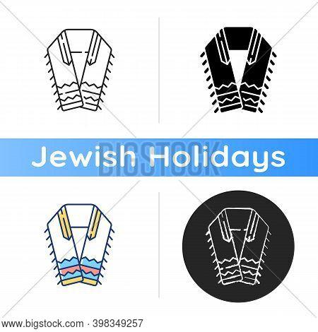Tallit And Tzitzit Icon. Jewish Prayer Shawl. Fringes In Garments Corner. Holy Symbolism. Four-corne