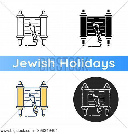 Torah Scroll Icon. Hebrew Bible. Esther Scroll. Purim Celebration. Shavuot Night. Jews With God Rela