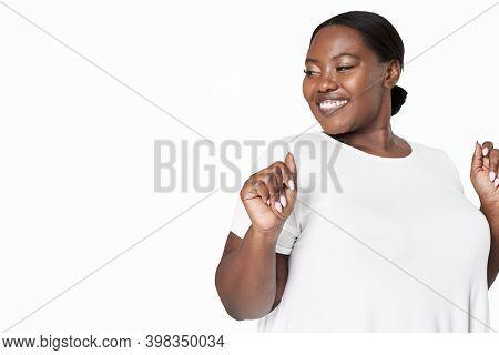 Body positivity background happy plus size model posing