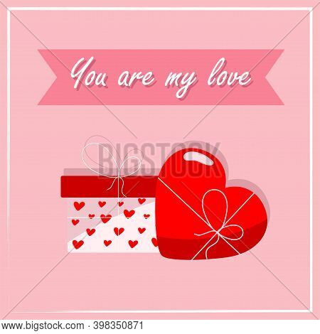 Design Of A Greeting Card With Gifts For Lovers On A Pink Background. Valentines Day Greeting Card T