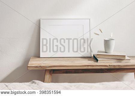 Horizontal White Frame Mockup On Vintage Wooden Bench, Table. Ceramic Mug With Dry Lagurus Ovatus Gr
