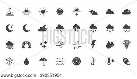 Weather Flat Icons Set. Sun, Rain, Thunder Storm, Dew, Wind, Snow Cloud, Night Sky Black Minimal Vec