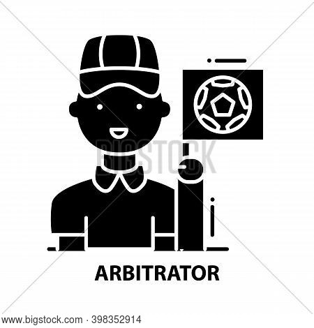 Arbitrator Icon, Black Vector Sign With Editable Strokes, Concept Illustration