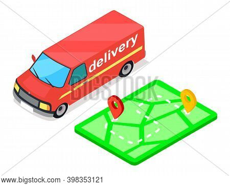 Delivery Service Concept . Red Freight Track And Map With Waypoints, Vehicle Route Illustration With