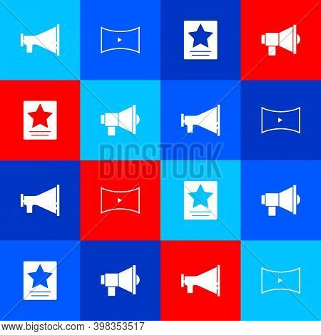 Set Megaphone, Online Play Video, Hollywood Walk Of Fame Star And Icon. Vector