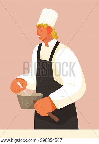 Chief-cooker Young Man At Work. Cartoon Chief Cooking In Restaurant Professional Kitchen. Food Indus