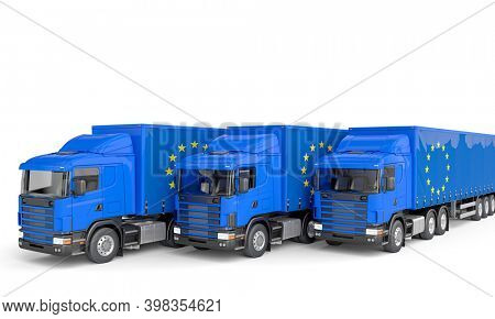truck with flag of europe. European trade concept. 3d render.