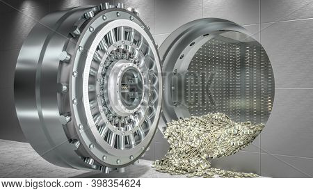 open vault door and money dollars coming out. concept of wealth and security. 3d render.