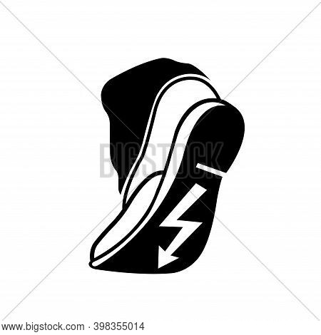 Use Anti Static Footwear Black Icon, Vector Illustration, Isolate On White Background Label. Eps10