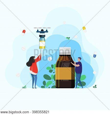 Throat Syrup, Throat Medicine, Drug Delivery. Medicine Healthcare Concept. Medicines During Treatmen