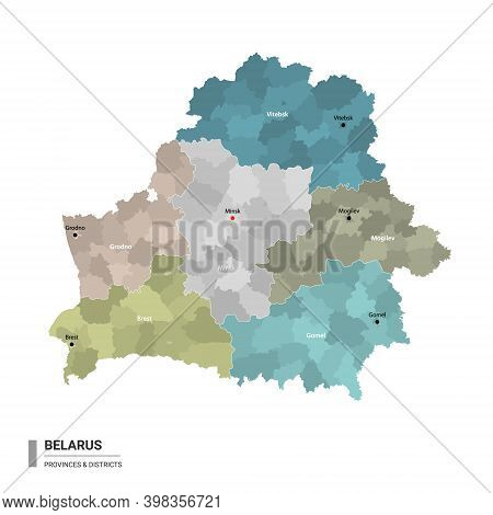 Belarus Higt Detailed Map With Subdivisions. Administrative Map Of Belarus With Districts And Cities