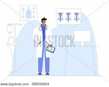 Prostate Cancer, Oncology. Consultation In A Clinic Or Hospital Office. Medical Appointment, Doctor