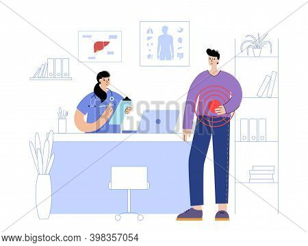Human Liver Concept. Gastrointestinal Clinic. Doctor Appointment, Treatment And Help In Medical Offi