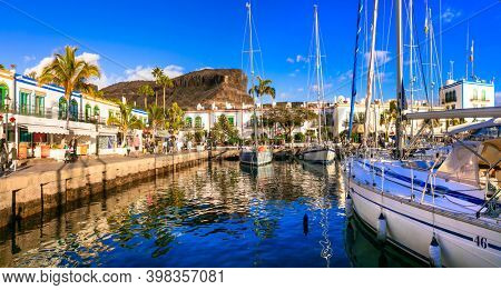 Gran Canaria (Grand Canary). Scenic Puerto de Mogan town. View with sail boats .Famous tourist destination. Canary islands. jan 2019