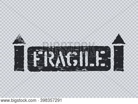 Fragile Cargo Box Sign With Arrows On Transparent Background For Logistics. Vector Grunge Illustrati